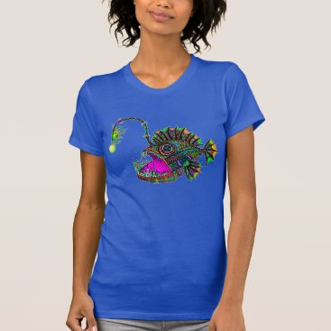 Beach Themed Electric Angler Fish Ladies Tee