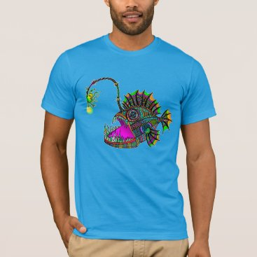 Beach Themed Electric Angler Fish Men's Tee