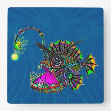 Beach Themed Electric Angler Fish Square Wall Clock