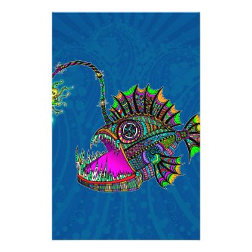 Beach Themed Electric Angler Fish Stationery
