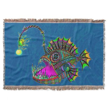 Beach Themed Electric Angler Fish Throw Blanket