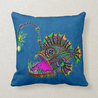 Electric Angler Fish Throw Pillow