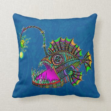 Beach Themed Electric Angler Fish Throw Pillow