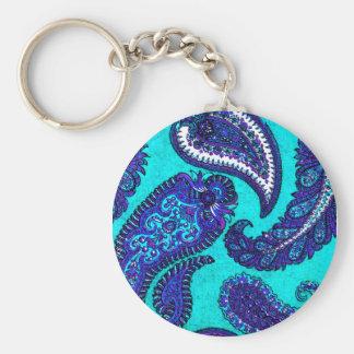 Electric Aqua Blue Indian Paisley Keychain