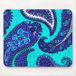 Electric Aqua Blue Indian Paisley Mousepads