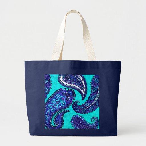 Electric Aqua Indian Paisley Tote Bags