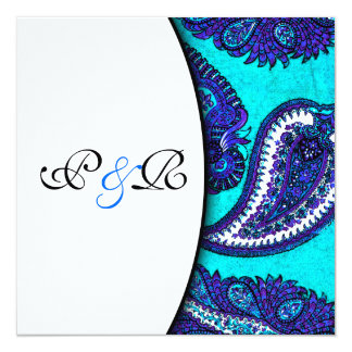 "Electric Aqua Paisley Wedding Invitation 5.25"" Square Invitation Card"