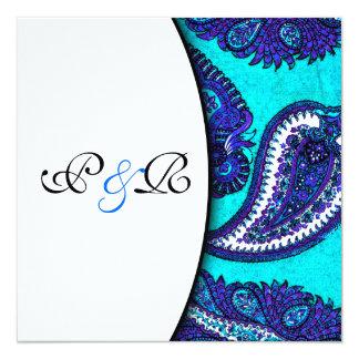 Electric Aqua Paisley Wedding Invitation