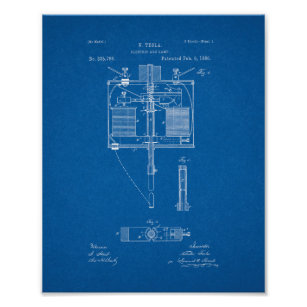 Electrical blueprint art framed artwork zazzle electric arc lamp patent blueprint poster malvernweather Gallery