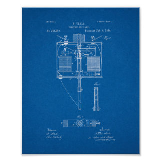 Electrical blueprint art framed artwork zazzle electric arc lamp patent blueprint poster malvernweather Choice Image
