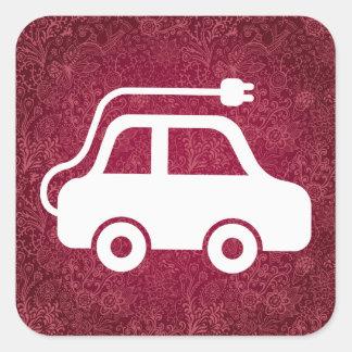 Electric Automobiles Pictogram Square Sticker