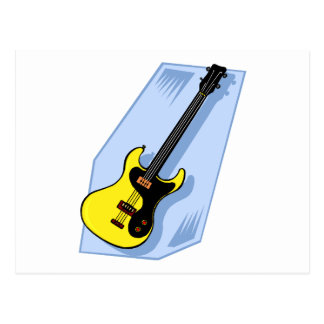 Electric Bass Graphic Yellow with blue back Postcard