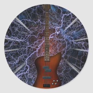 Electric Bass Guitar Classic Round Sticker