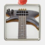 Electric Bass Guitar Square Metal Christmas Ornament