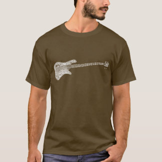 Electric Bass Shaped Word Art White Text T-Shirt
