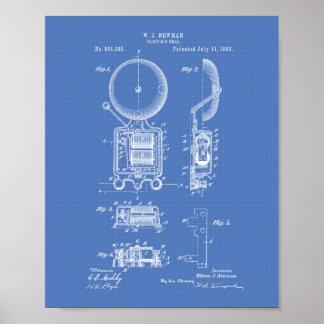 Electric Bell 1893 Patent Art - Blueprint Poster