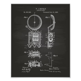 Electric Bell 1893 Patent Art - Chalkboard Poster