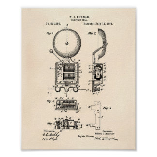 Electric Bell 1893 Patent Art - Old Peper Poster