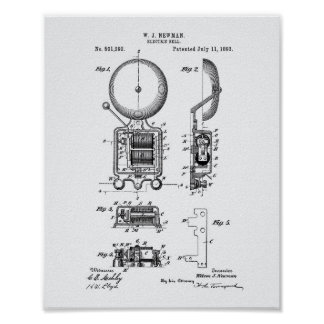 Electric Bell 1893 Patent Art - White Paper Poster