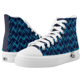 Electric Blue Abstract Hi Top Shoe Printed Shoes