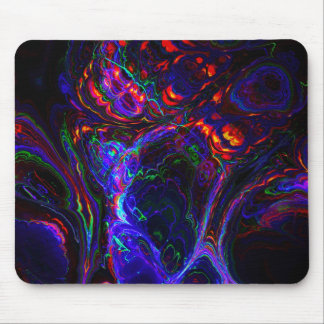 Electric blue and fire orange fractal art mouse pad