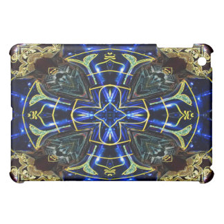 Electric Blue and Gold Medallion Cross iPad Case