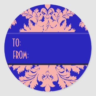 Electric Blue and Pink Damask Gift Tags Classic Round Sticker