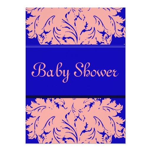 Electric Blue and Pink Damask Personalized Invitation