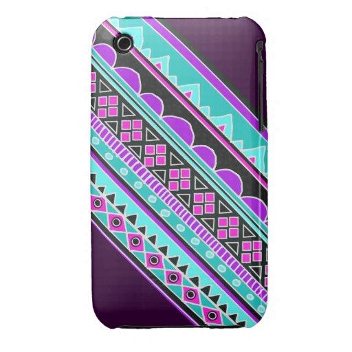 Electric Blue and purple geometric pattern iPhone 3 Case-Mate Case
