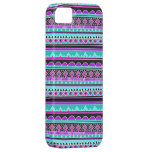 Electric Blue and purple geometric pattern iPhone 5 Cases