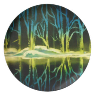 Electric Blue and Yellow Forest of Trees Plate