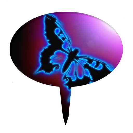 Electric blue butterfly cake topper
