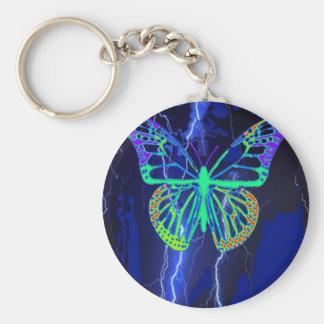 Electric Blue Butterfly Gifts by Sharles Basic Round Button Keychain