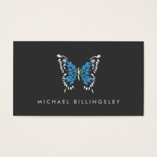 ELECTRIC BLUE BUTTERFLY LOGO on DARK GRAY Business Card