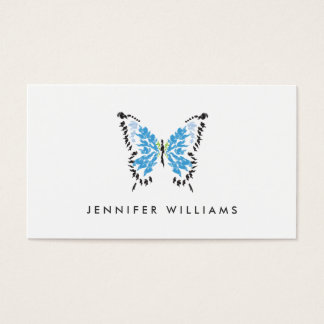 ELECTRIC BLUE BUTTERFLY LOGO on WHITE Business Card