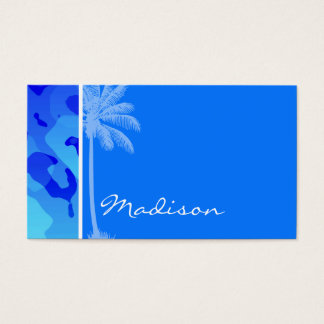 Electric Blue Camo; Summer Palm Business Card
