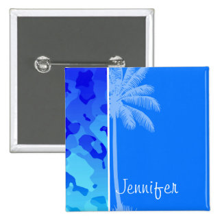 Electric Blue Camo; Summer Palm Pinback Buttons