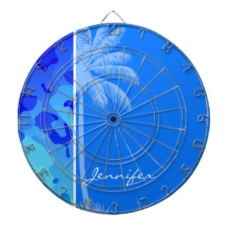 Electric Blue Camo; Summer Palm Dart Board