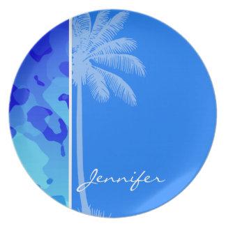 Electric Blue Camo; Summer Palm Dinner Plate