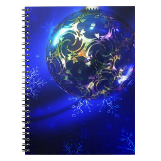 Electric blue christmas bauble design, customize i spiral notebook