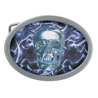 Electric Blue Chrome Skull Belt Buckle