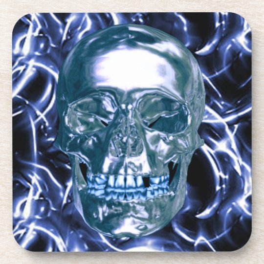 Electric Blue Chrome Skull Coasters