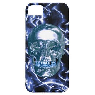 Electric Blue Chrome Skull iPhone 5 Case