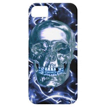 Electric Blue Chrome Skull iPhone 5G  Case