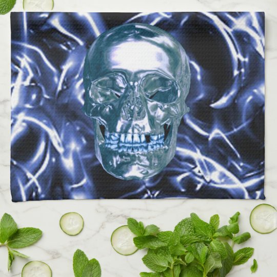 Electric Blue Chrome Skull Kitchen Towel