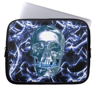 Electric Blue Chrome Skull Laptop Sleeve