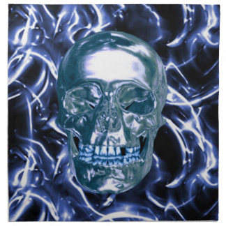 Electric Blue Chrome Skull Napkins