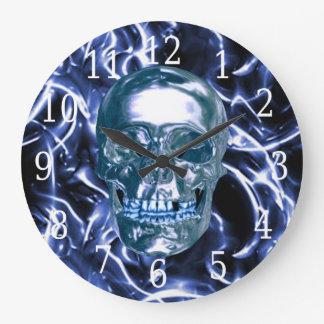 Electric Blue Chrome Skull Round Clock