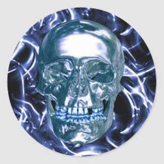 Electric Blue Chrome Skull Stickers