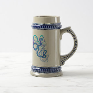 Electric Blue Dragon Shadowed Shirts Beer Stein
